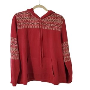 Vintage Woolrich Red Patterned Sweater Hoodie XL
